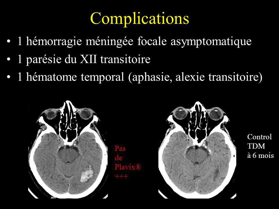 Complications 1 hémorragie méningée focale asymptomatique