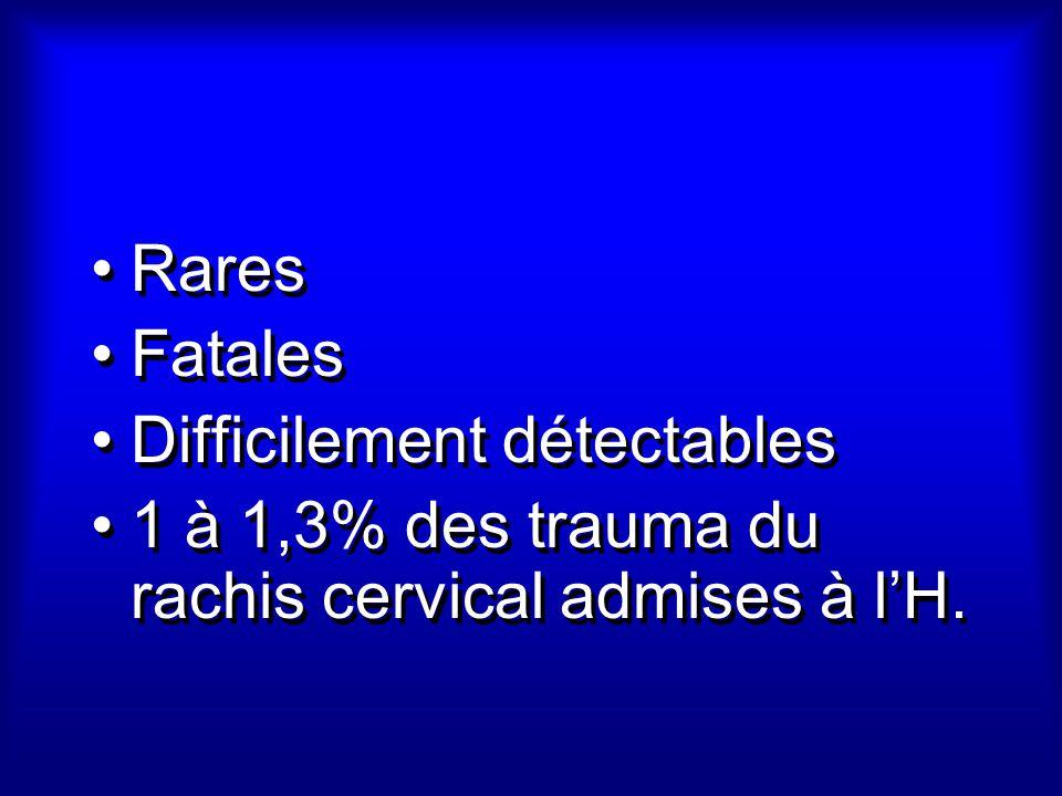 Rares Fatales Difficilement détectables 1 à 1,3% des trauma du rachis cervical admises à l'H.