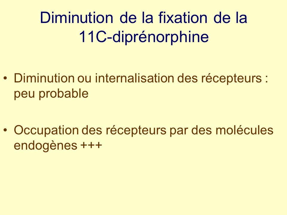 Diminution de la fixation de la 11C-diprénorphine