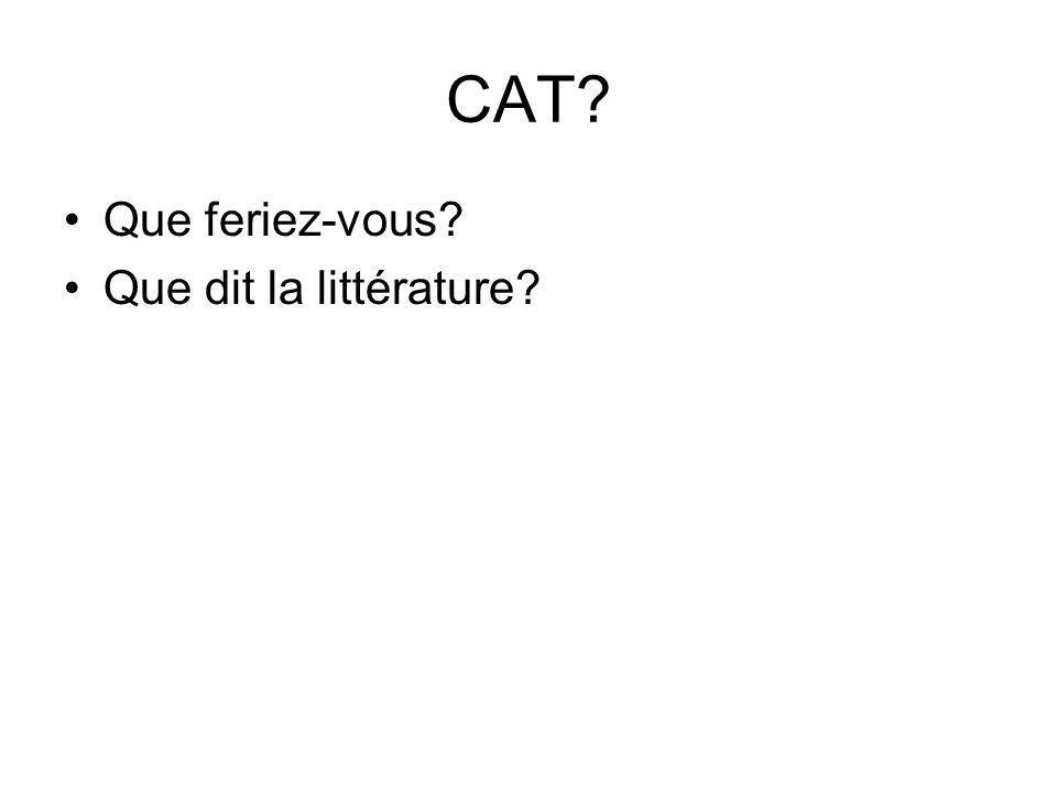 CAT Que feriez-vous Que dit la littérature
