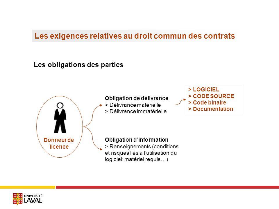 Les exigences relatives au droit commun des contrats