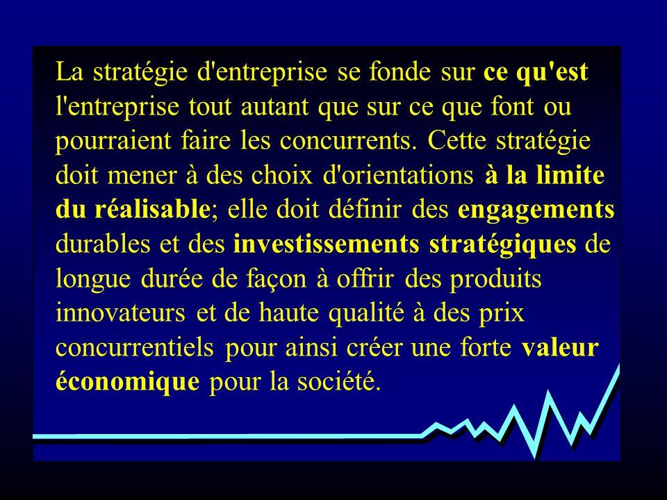 La stratégie d entreprise se fonde sur ce qu est l entreprise tout autant que sur ce que font ou pourraient faire les concurrents.