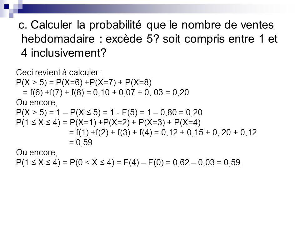 c. Calculer la probabilité que le nombre de ventes hebdomadaire : excède 5 soit compris entre 1 et 4 inclusivement