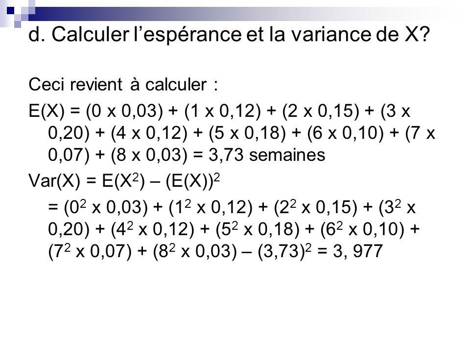d. Calculer l'espérance et la variance de X