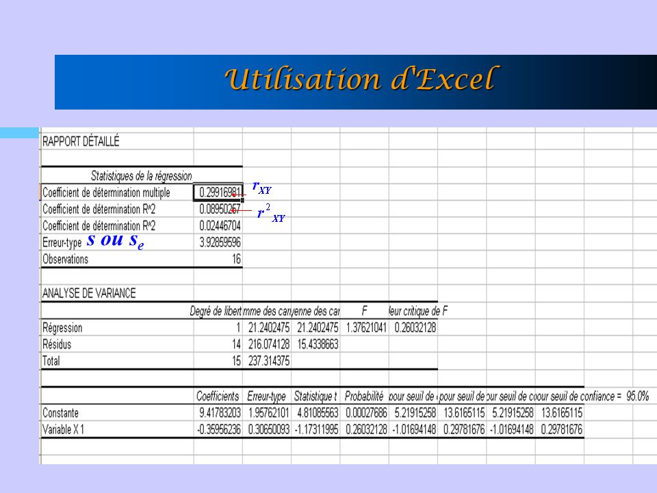 Utilisation d Excel s ou se