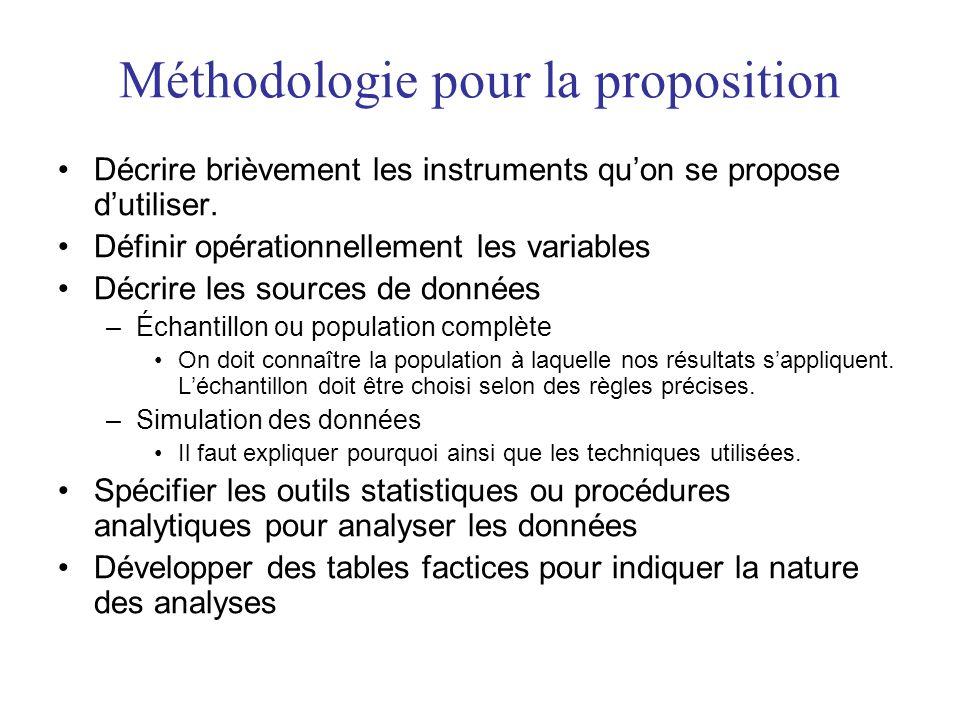 Méthodologie pour la proposition