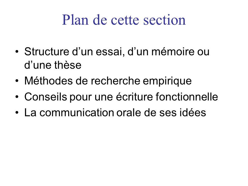Plan de cette section Structure d'un essai, d'un mémoire ou d'une thèse. Méthodes de recherche empirique.