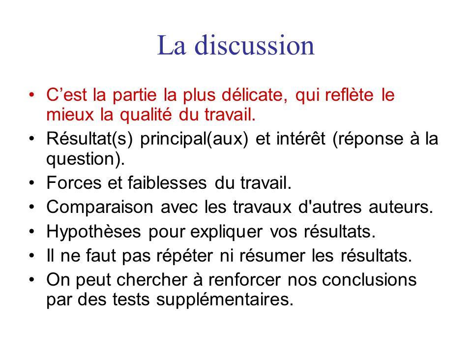 La discussion C'est la partie la plus délicate, qui reflète le mieux la qualité du travail.