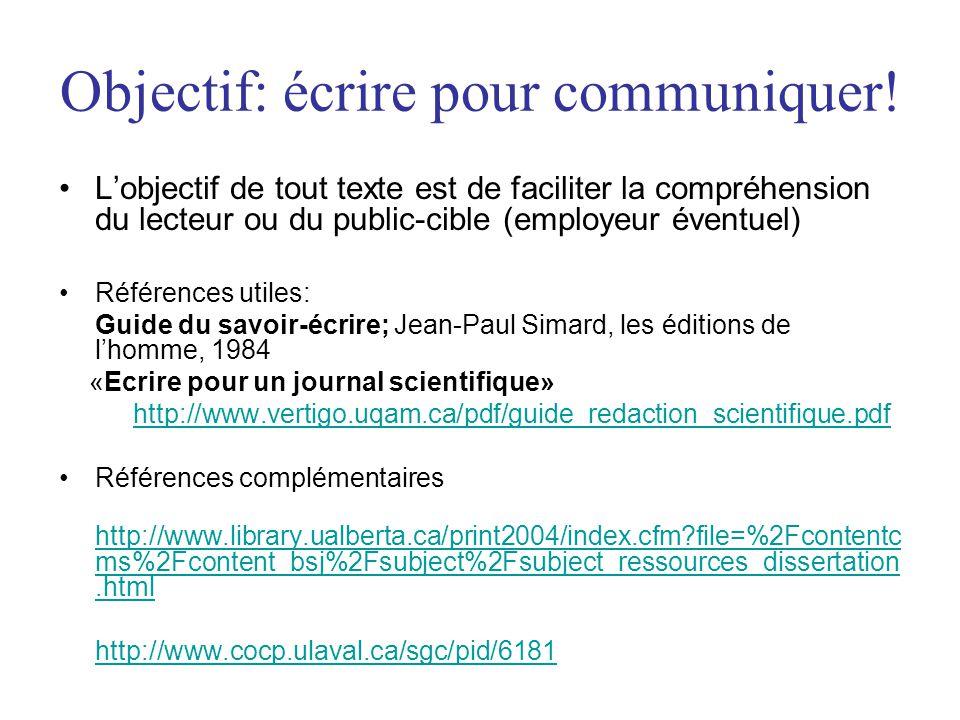Objectif: écrire pour communiquer!