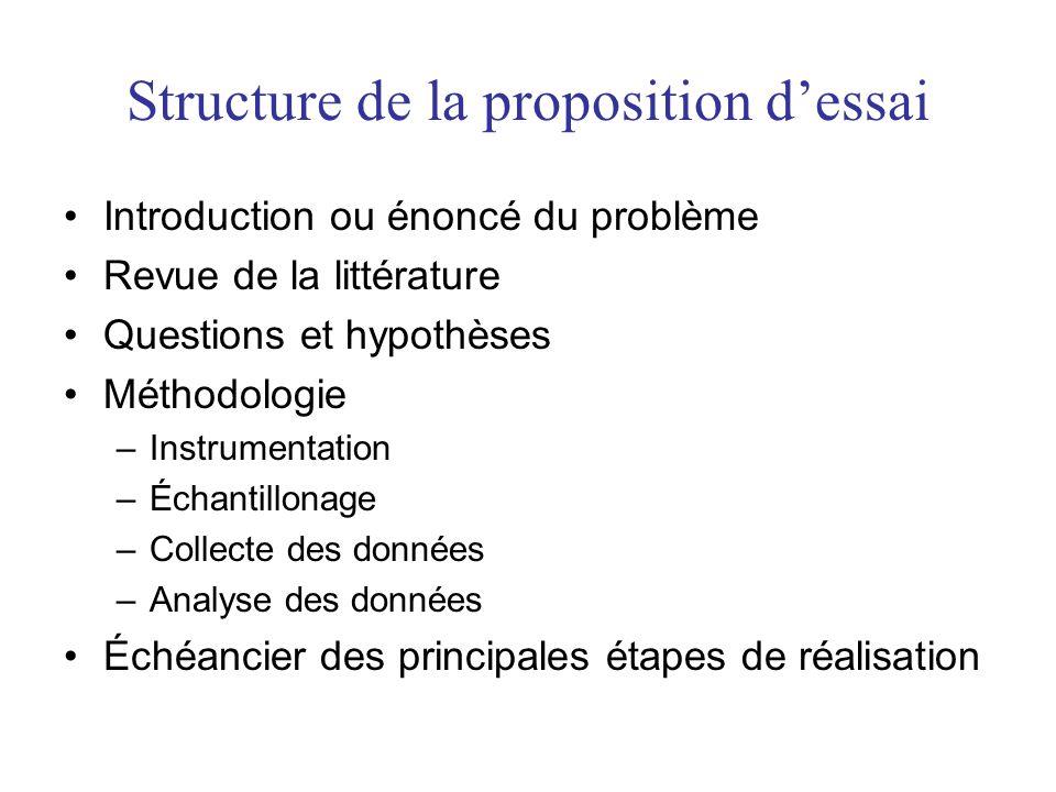 Structure de la proposition d'essai