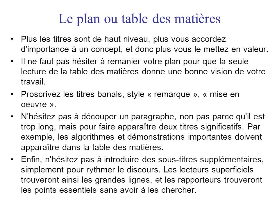 Le plan ou table des matières