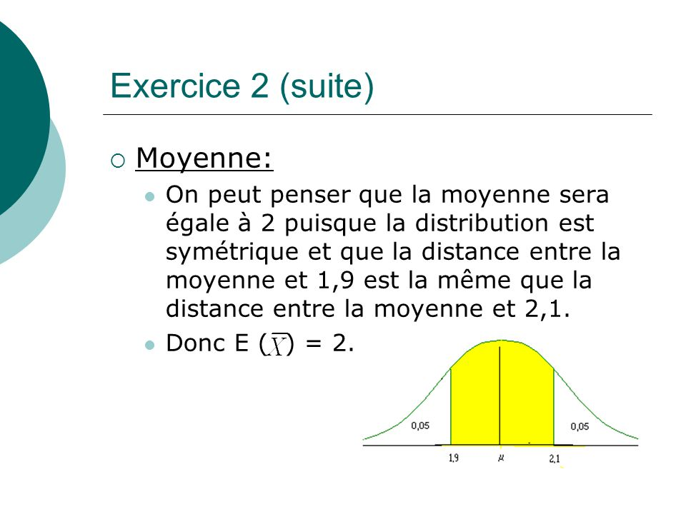 Exercice 2 (suite) Moyenne: