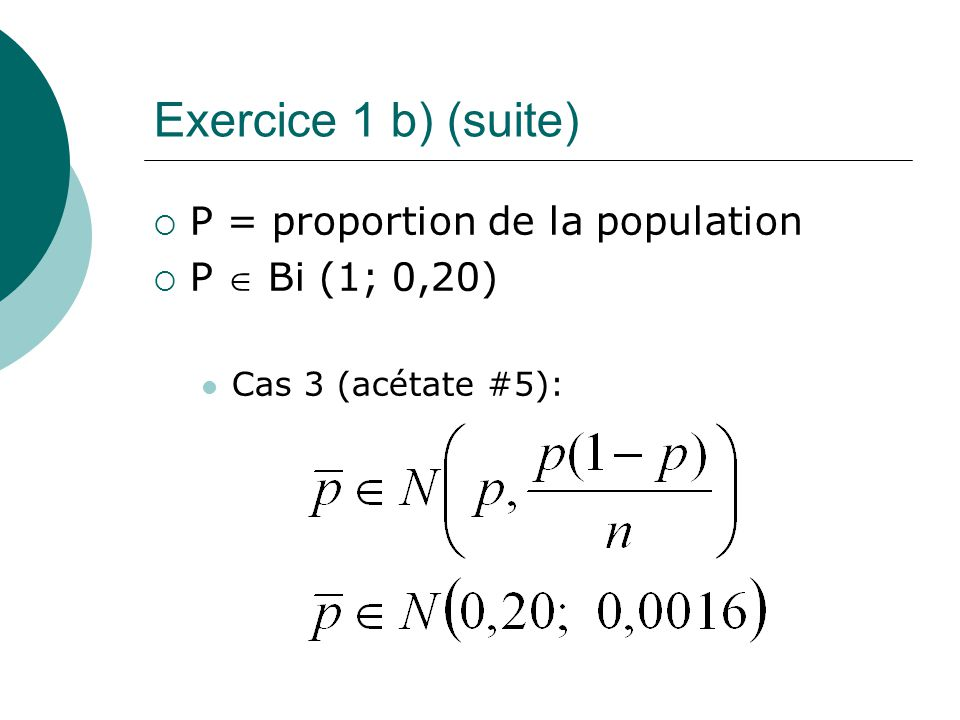 Exercice 1 b) (suite) P = proportion de la population P  Bi (1; 0,20)