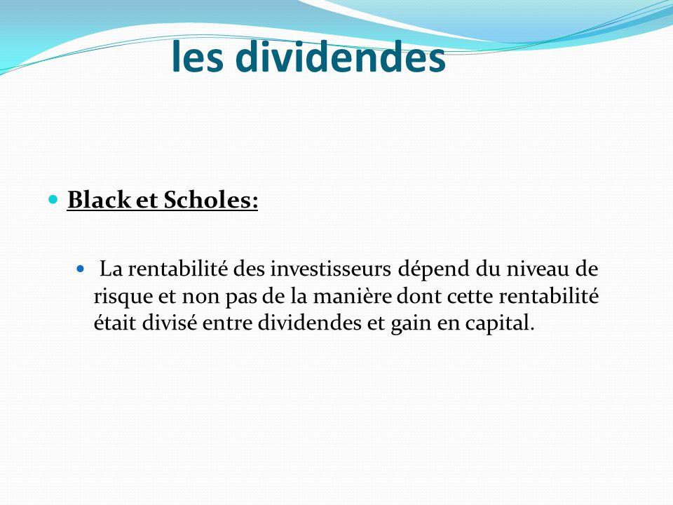 les dividendes Black et Scholes:
