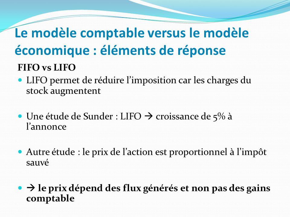 Le modèle comptable versus le modèle économique : éléments de réponse