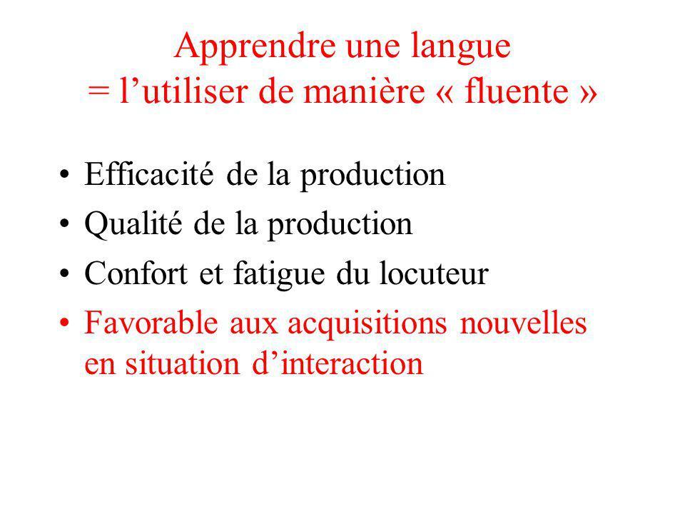 Apprendre une langue = l'utiliser de manière « fluente »
