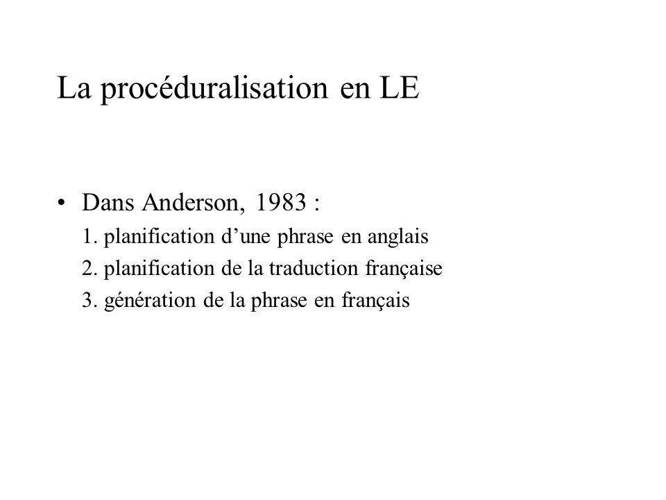 La procéduralisation en LE