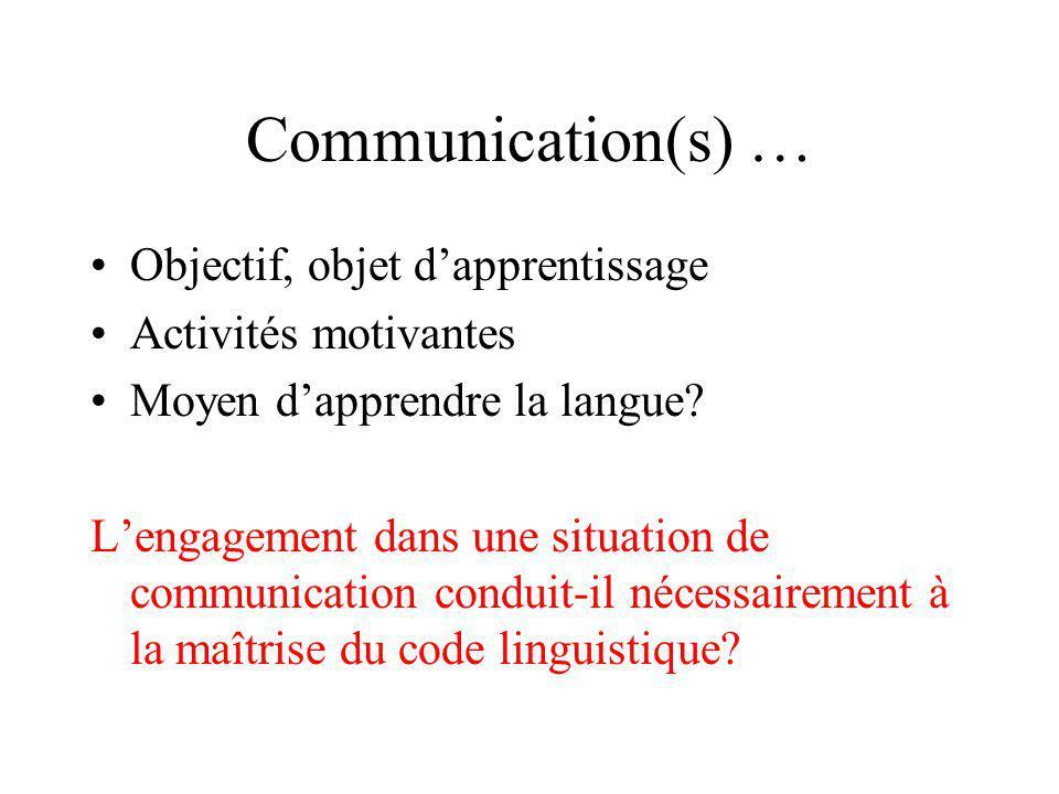 Communication(s) … Objectif, objet d'apprentissage