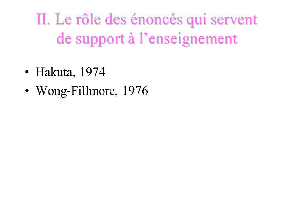 II. Le rôle des énoncés qui servent de support à l'enseignement