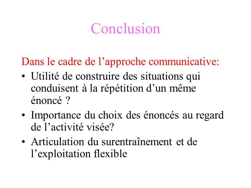 Conclusion Dans le cadre de l'approche communicative: