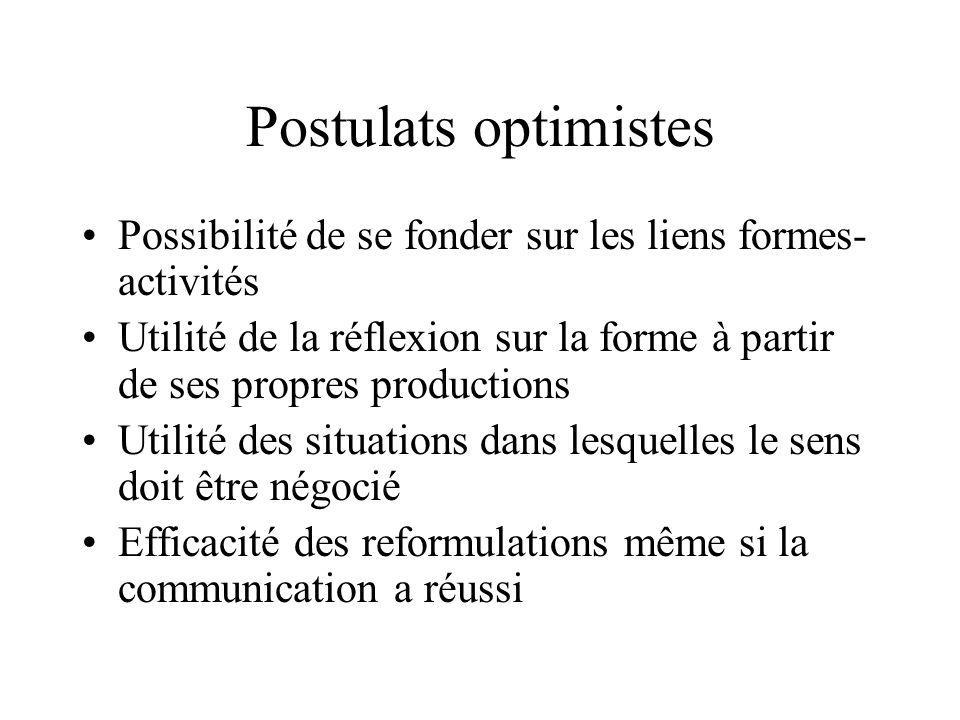 Postulats optimistes Possibilité de se fonder sur les liens formes-activités.