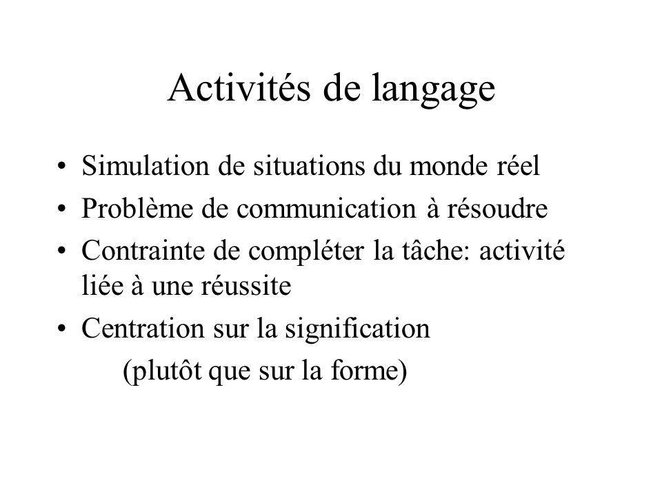 Activités de langage Simulation de situations du monde réel