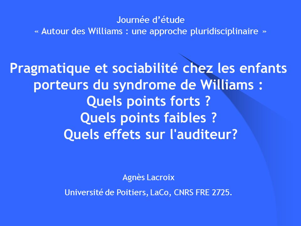 Université de Poitiers, LaCo, CNRS FRE 2725.
