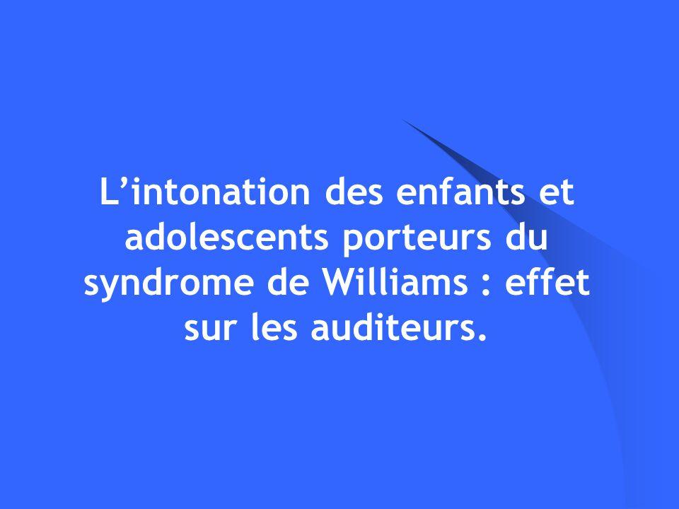 L'intonation des enfants et adolescents porteurs du syndrome de Williams : effet sur les auditeurs.