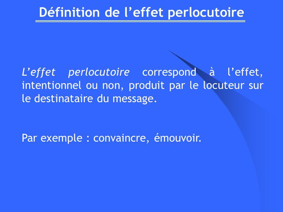 Définition de l'effet perlocutoire