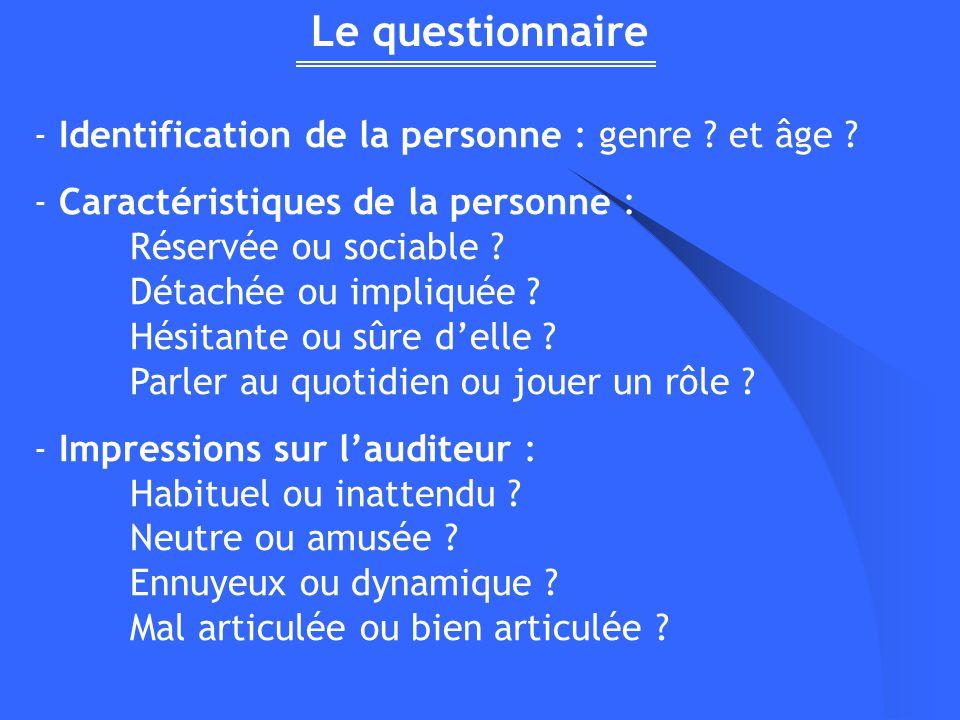 Le questionnaire - Identification de la personne : genre et âge