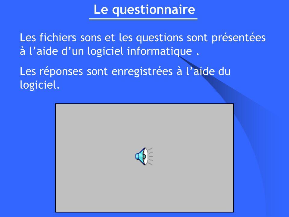 Le questionnaire Les fichiers sons et les questions sont présentées à l'aide d'un logiciel informatique .
