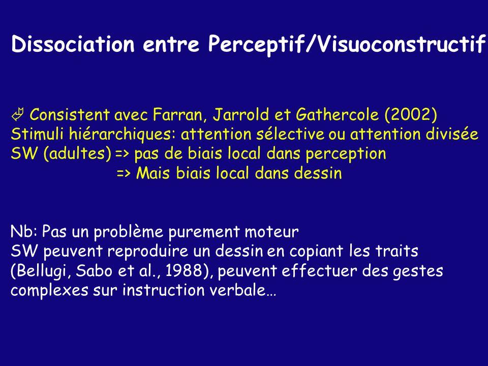 Dissociation entre Perceptif/Visuoconstructif