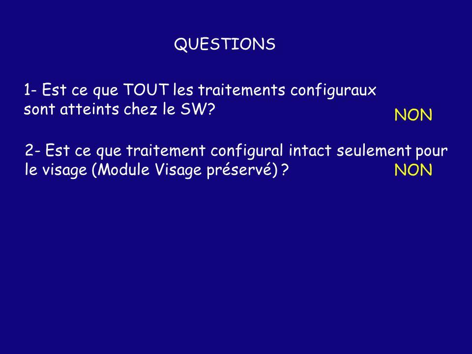 QUESTIONS 1- Est ce que TOUT les traitements configuraux. sont atteints chez le SW NON. 2- Est ce que traitement configural intact seulement pour.