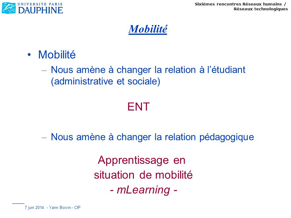Mobilité Mobilité ENT Apprentissage en situation de mobilité