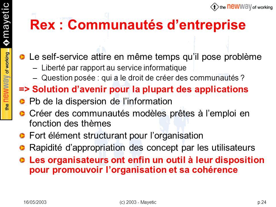 Rex : Communautés d'entreprise