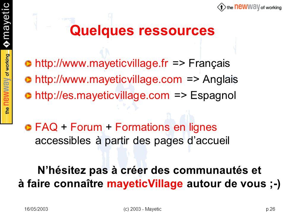Quelques ressources http://www.mayeticvillage.fr => Français