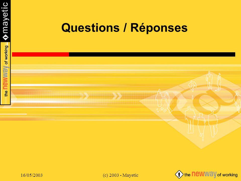 Questions / Réponses 16/05/2003 (c) 2003 - Mayetic