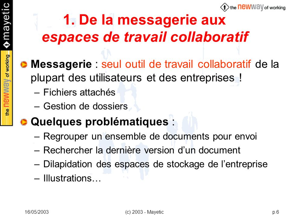 1. De la messagerie aux espaces de travail collaboratif