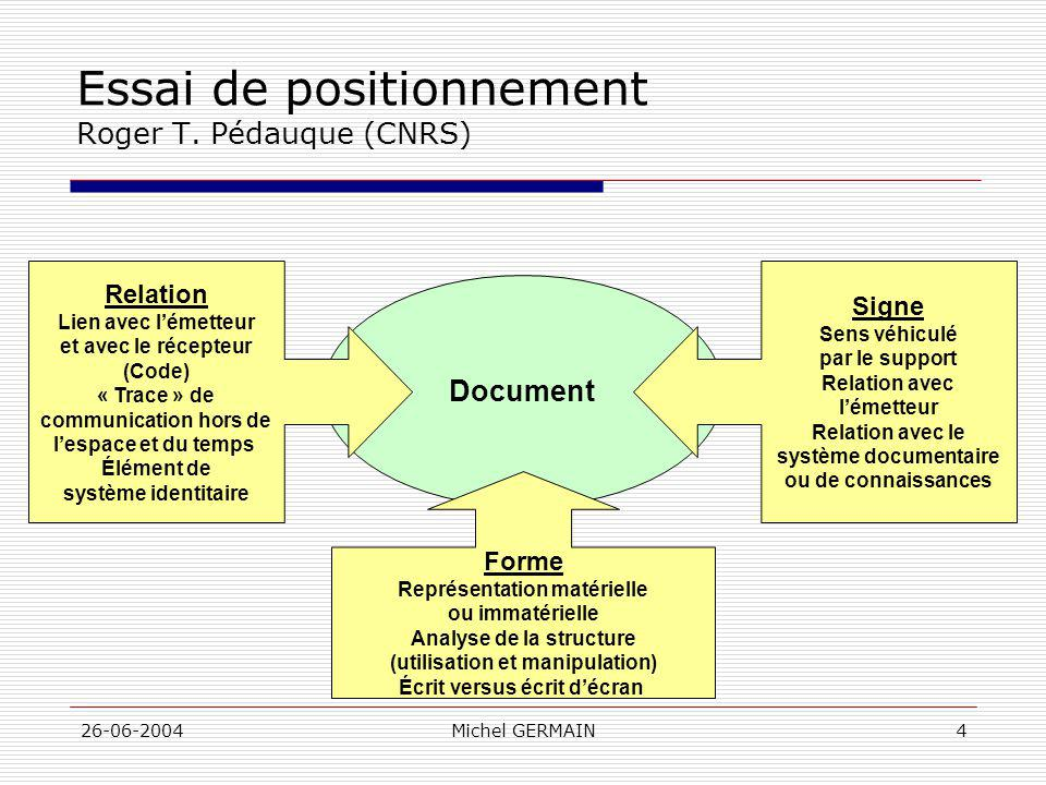 Essai de positionnement Roger T. Pédauque (CNRS)