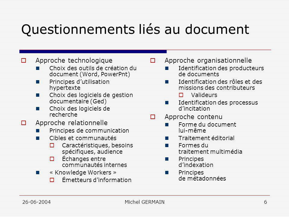 Questionnements liés au document