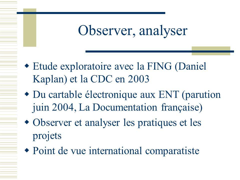 Observer, analyser Etude exploratoire avec la FING (Daniel Kaplan) et la CDC en 2003.