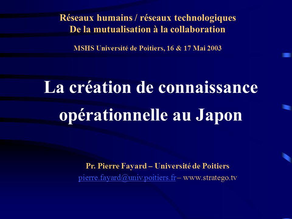 La création de connaissance opérationnelle au Japon
