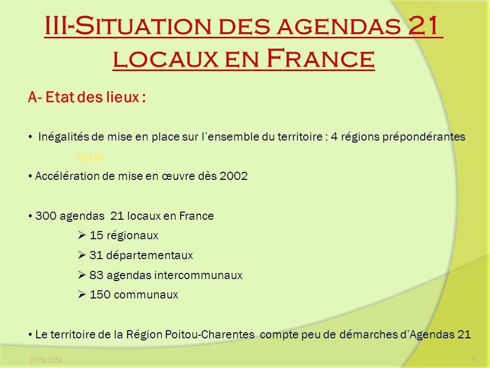 III-Situation des agendas 21 locaux en France