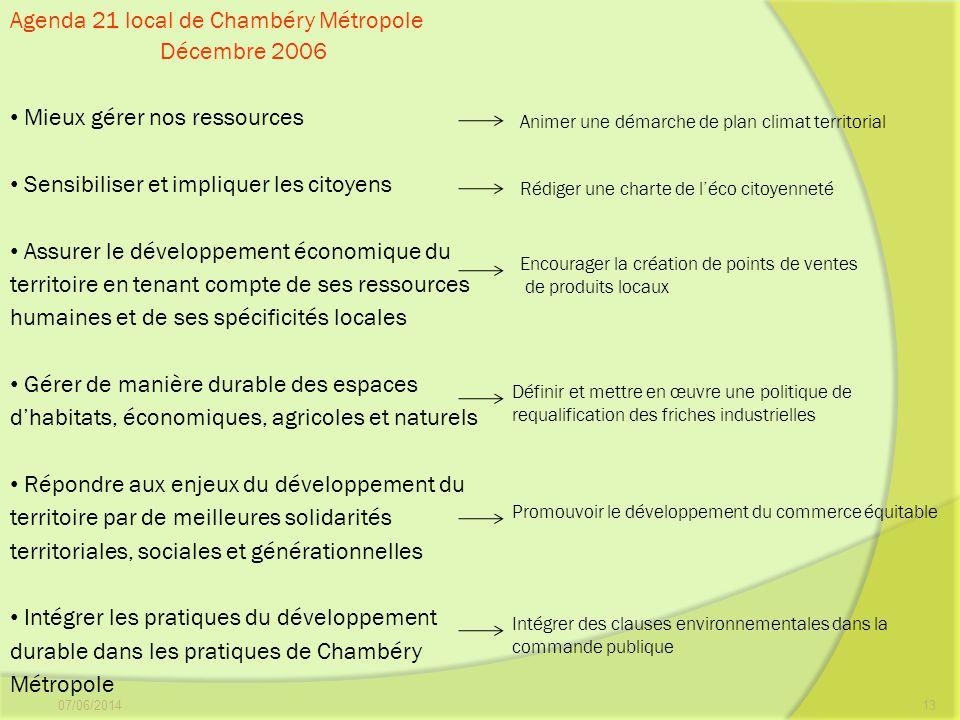 Agenda 21 local de Chambéry Métropole Décembre 2006