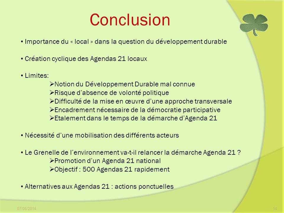 Conclusion Importance du « local » dans la question du développement durable. Création cyclique des Agendas 21 locaux.