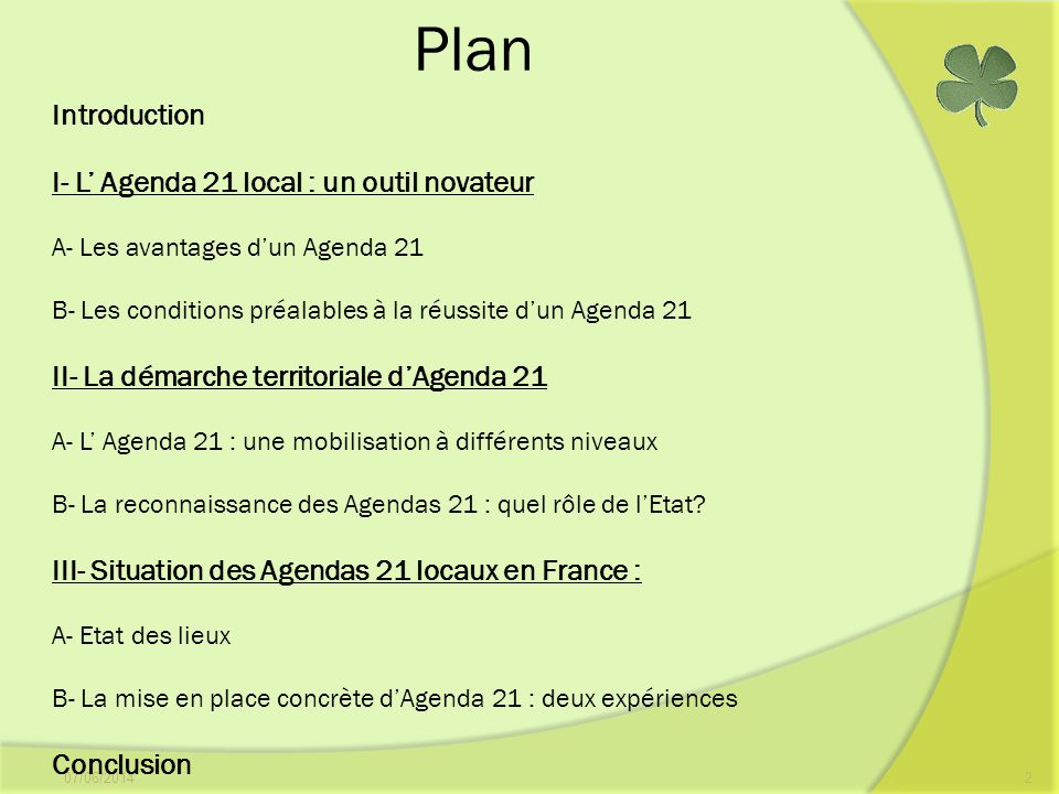 Plan Introduction I- L' Agenda 21 local : un outil novateur