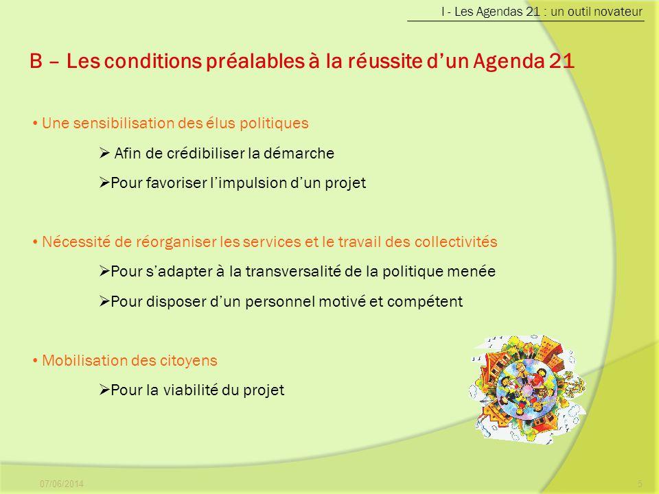 B – Les conditions préalables à la réussite d'un Agenda 21