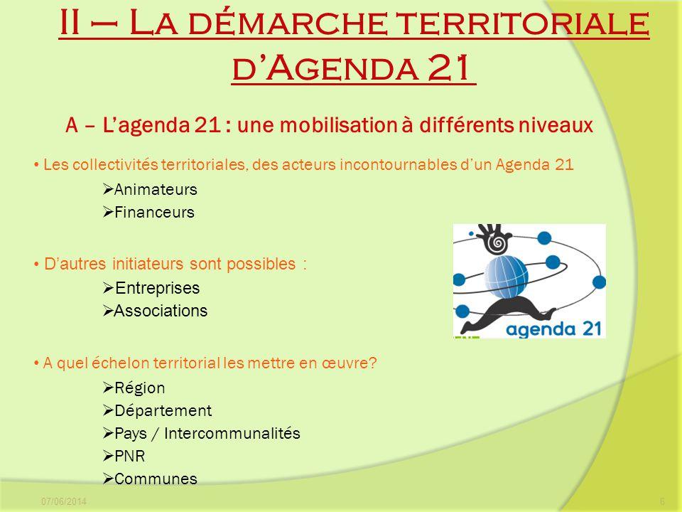 II – La démarche territoriale d'Agenda 21