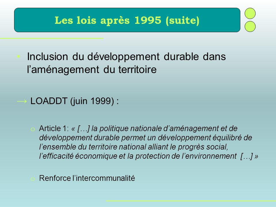Inclusion du développement durable dans l'aménagement du territoire