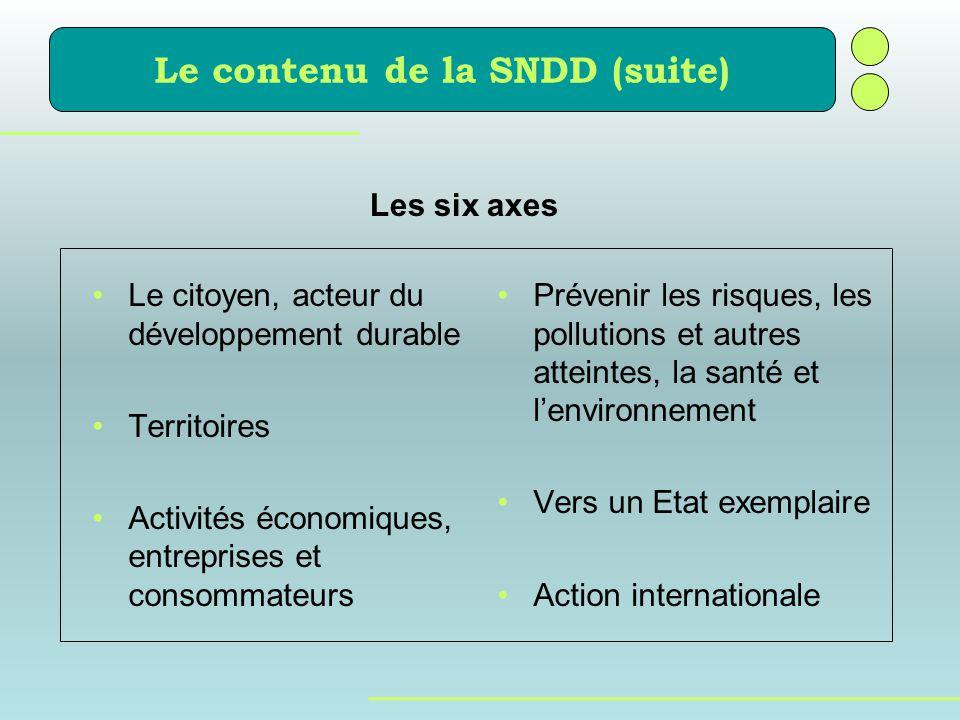 Le contenu de la SNDD (suite)
